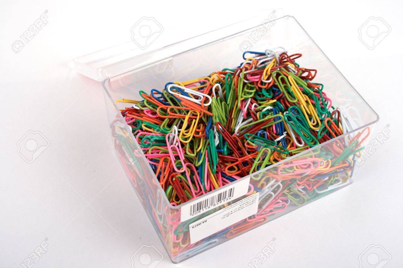box full of paper clips stock photo, picture and royalty free image