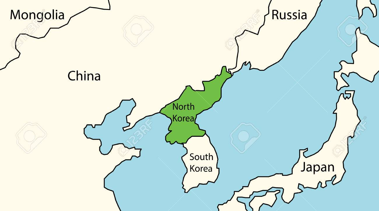 North Korea Map With Surrounding Countries Royalty Free Cliparts