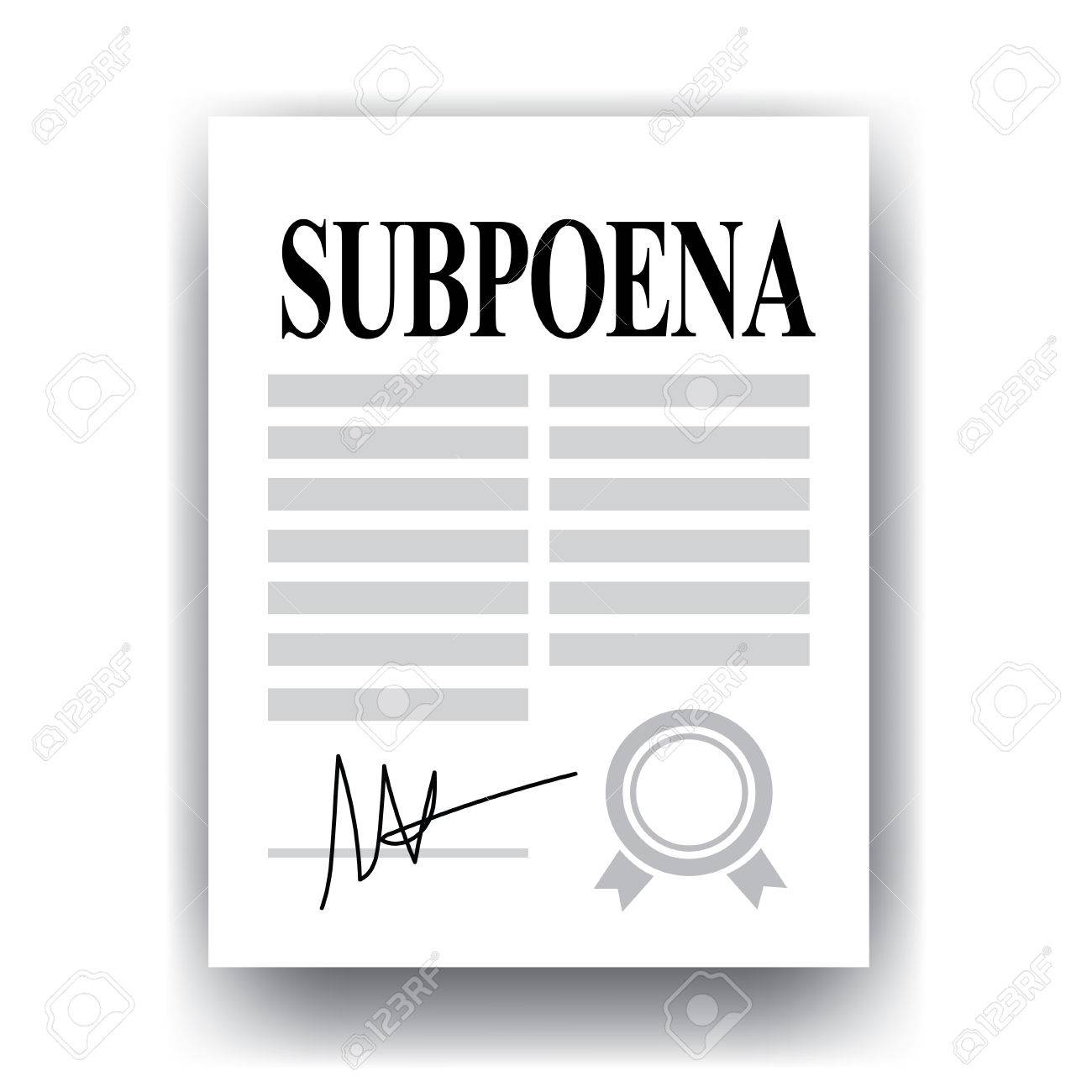 subpoena official legal document isolated on white background