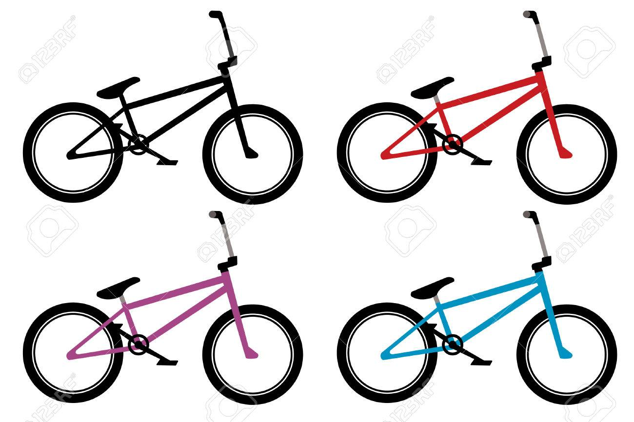 Bmx Bike Set In Black, Red, Blue And Violet Color Royalty Free ...