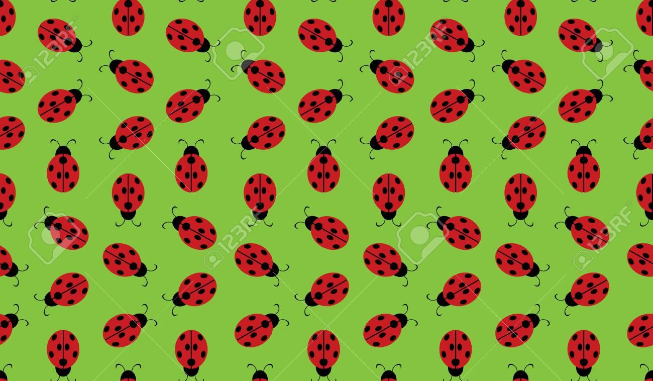 Ladybug Wallpaper Pattern Stock Vector