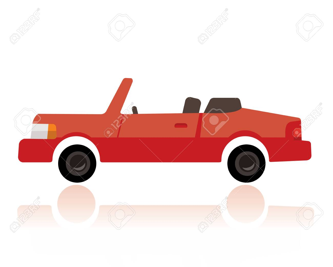 A Red Convertible Car Funny Cartoon Style On White Background Royalty Free Cliparts Vectors And Stock Illustration Image 87798269