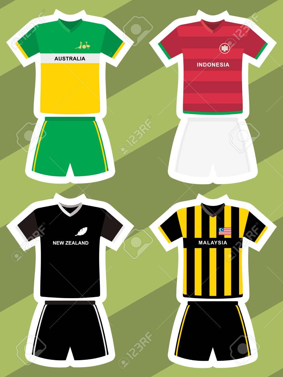 2a63b702423 set of abstract football jerseys, australia, new zealand, indonesia and  malaysia Stock Vector