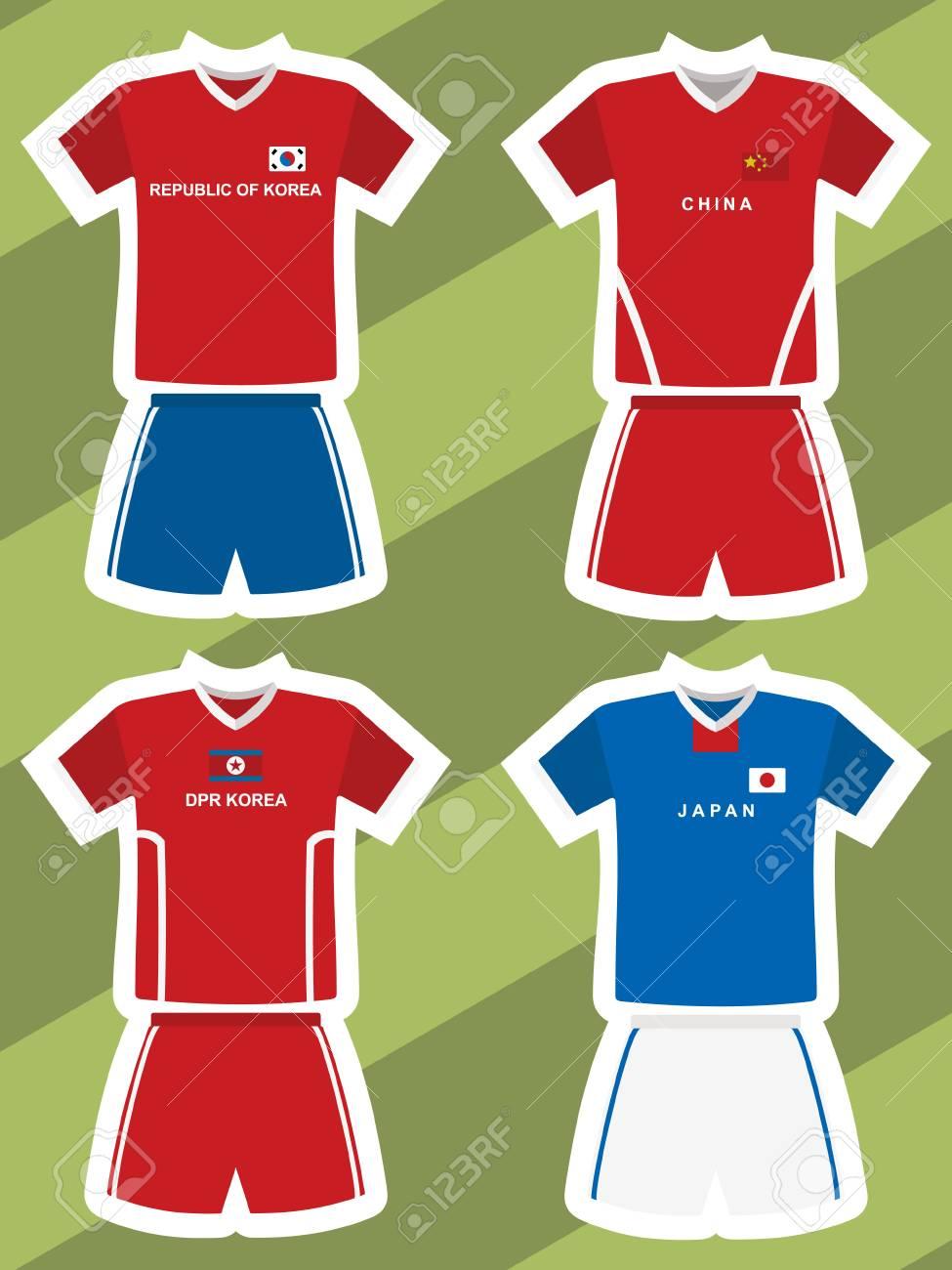 the best attitude 1db4c 9e93b set of abstract football jerseys, china, south korea, north korea..