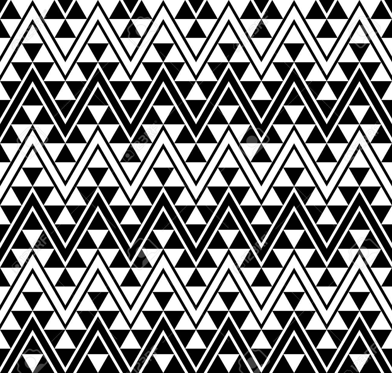 African pattern zigzag pattern background with monochrome geometric black and white stock vector