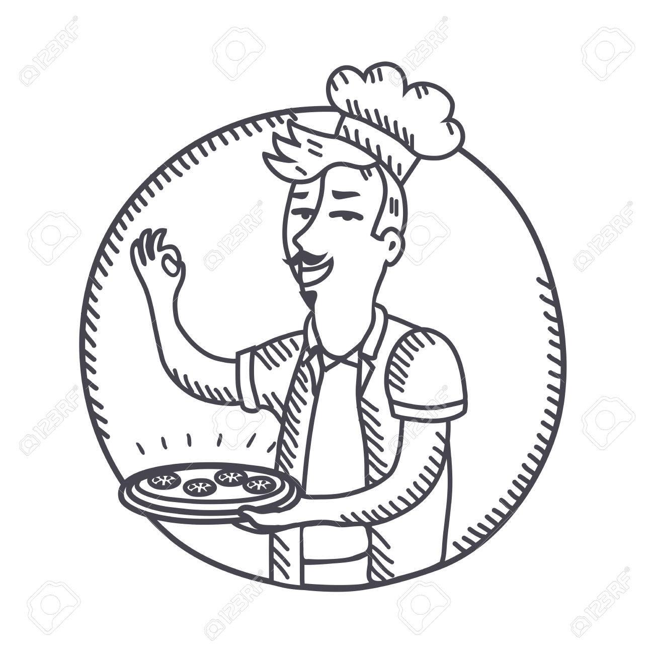 Vektor Umriss Schwarz Weiß Abbildung Der Chef Der Einen Teller Mit