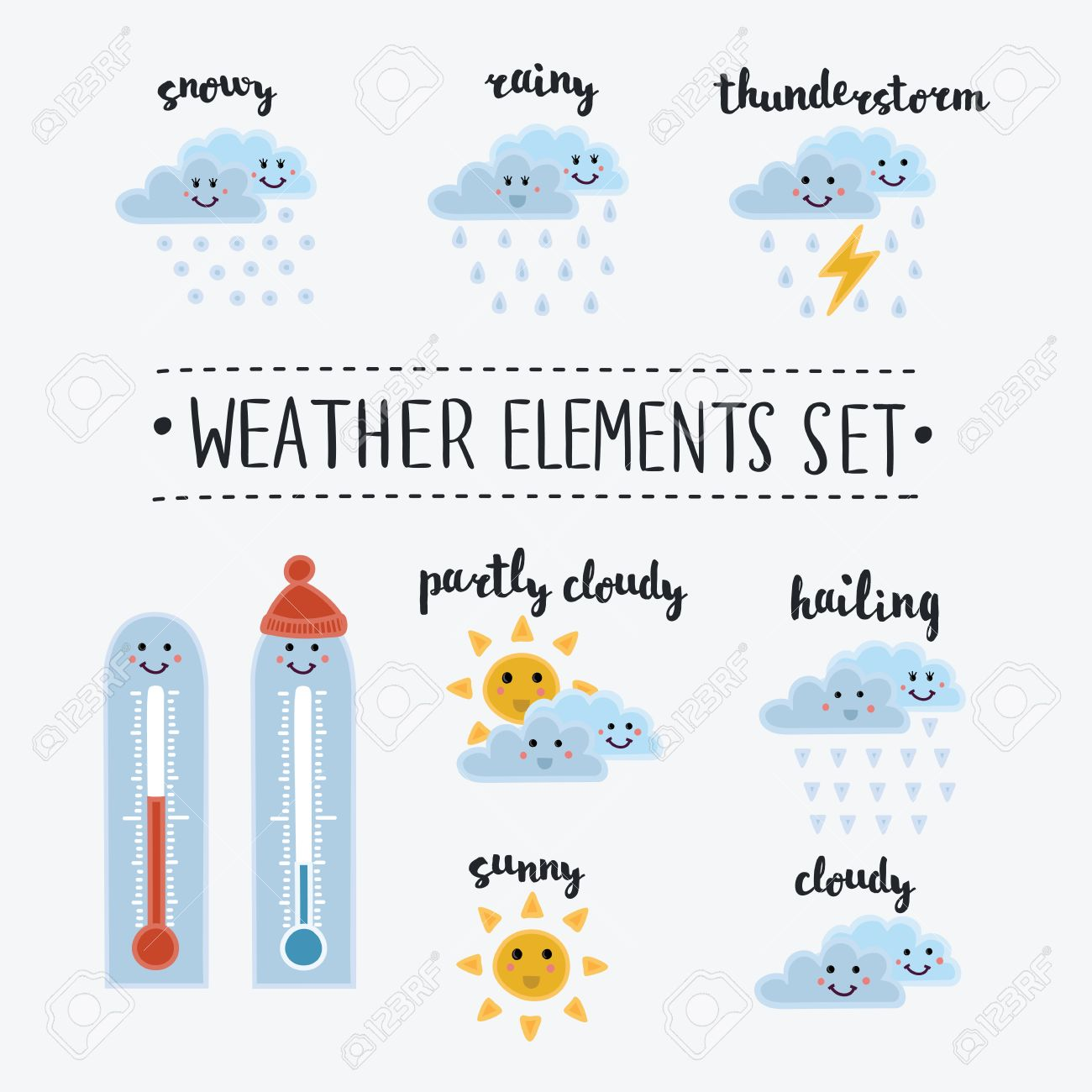 Colección De Dibujos Animados Y Los Iconos Del Tiempo Sonrientes Divertidas Ilustración Del Vector En Estilo Lindo Los Diferentes Tipos De Clima