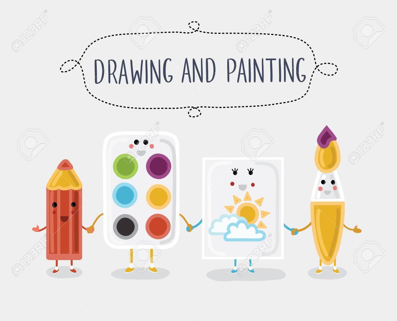 Vektor-Illustration Der Zeichnung Und Malerei Materialien. Comic ...