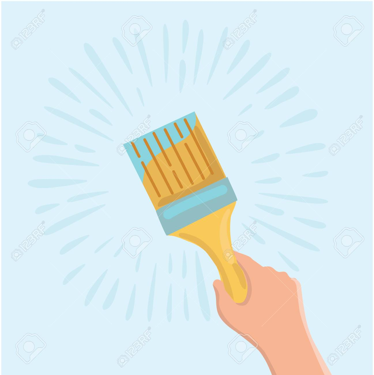 Vector cartoon illustration of paint brush for painting wall