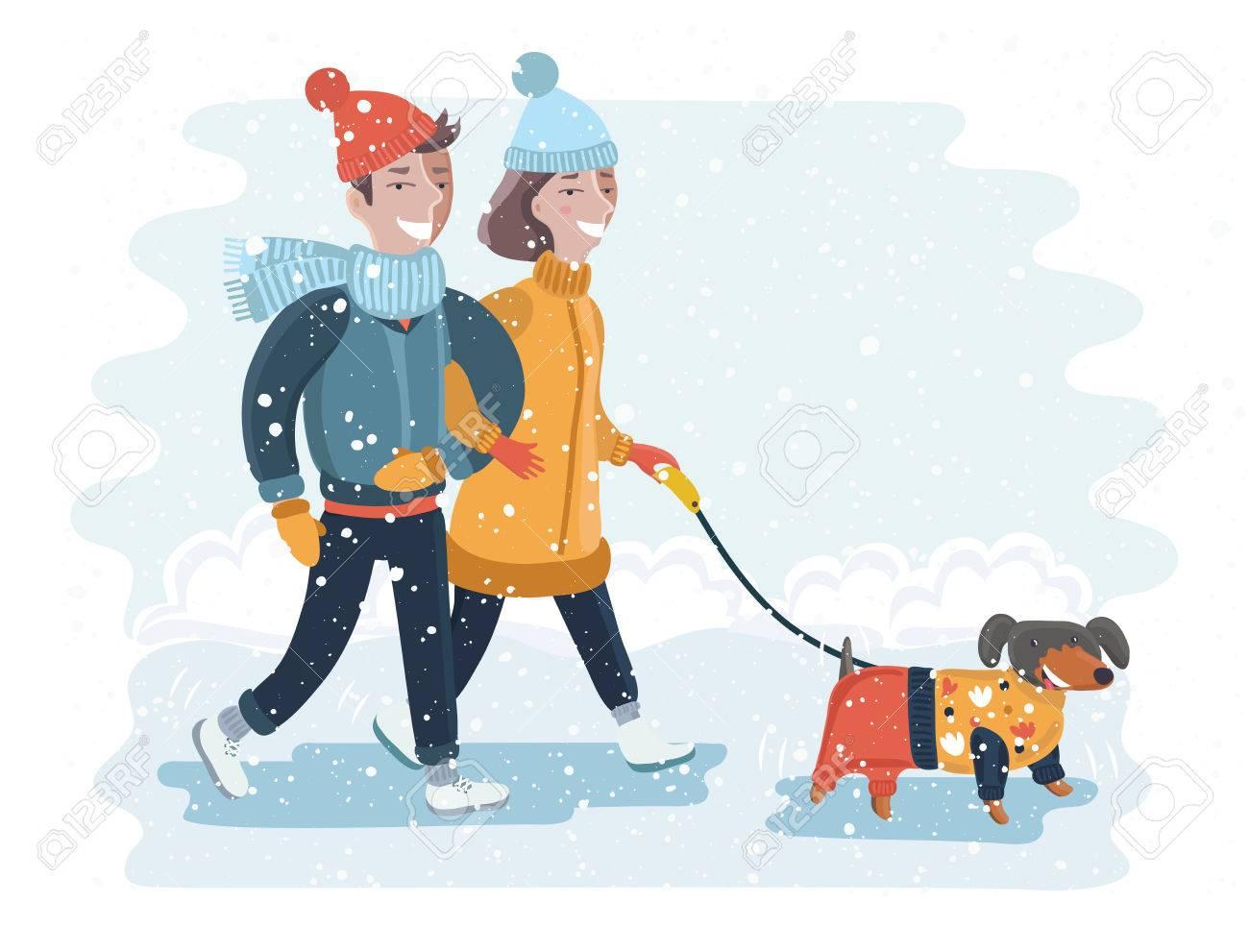 犬と冬雪の公園を歩いて幸せなカップルのベクトル イラスト ロイヤリティ
