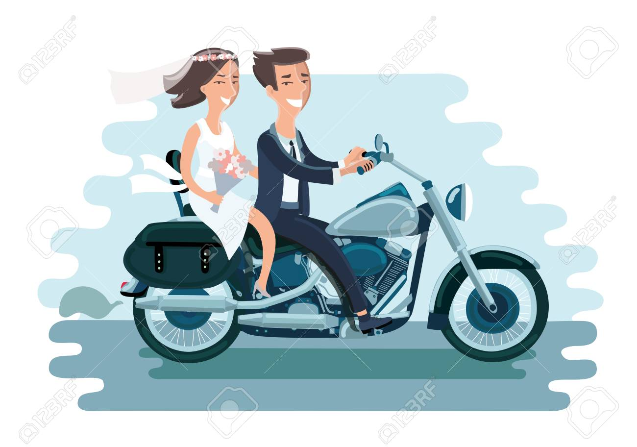 Cartoon vector illustration of wedding young couple riding the motorcycle. Funny bride and groom - 82031819