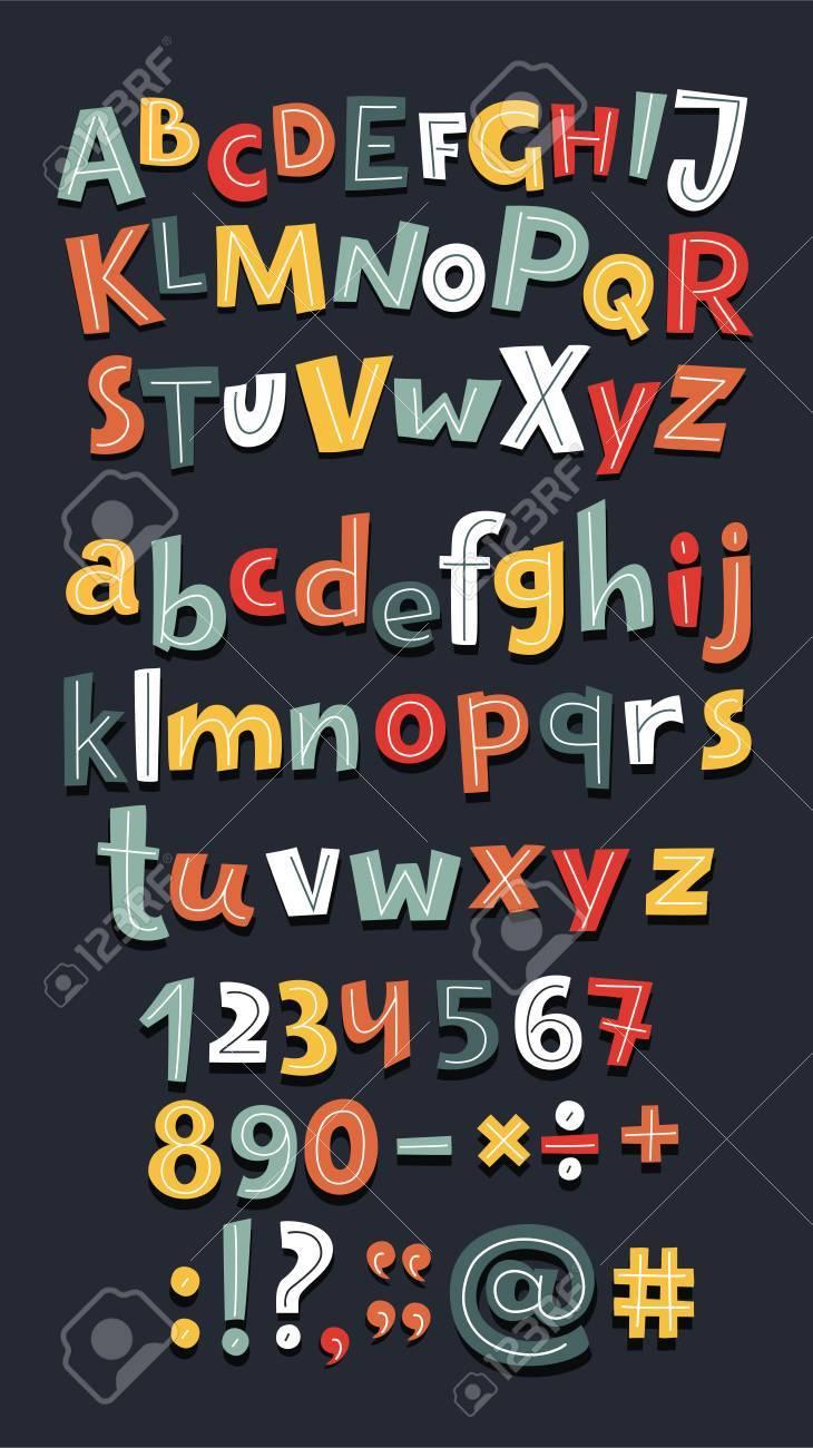 Vector cartoon fun big set of alphabet letters, numbers on dark