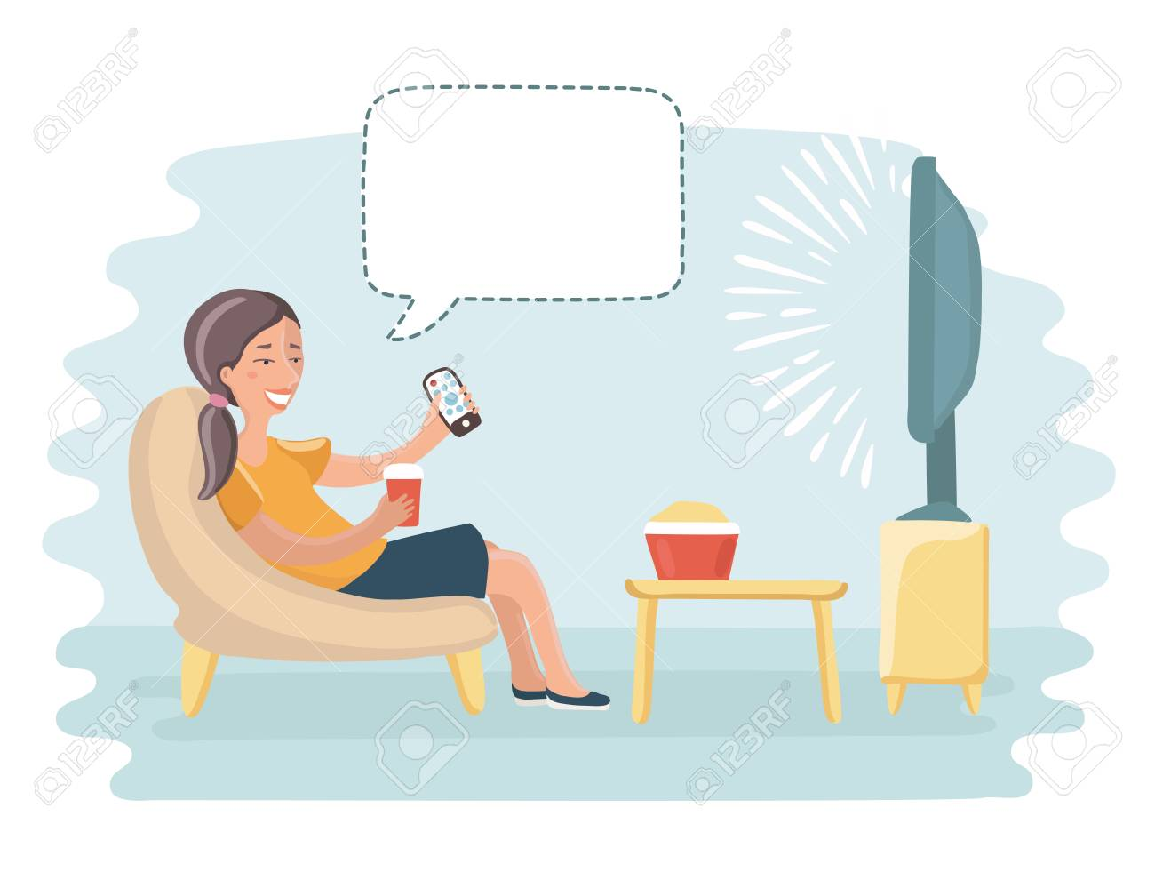 vector funny cartoon illustration of happy woman watch tv and