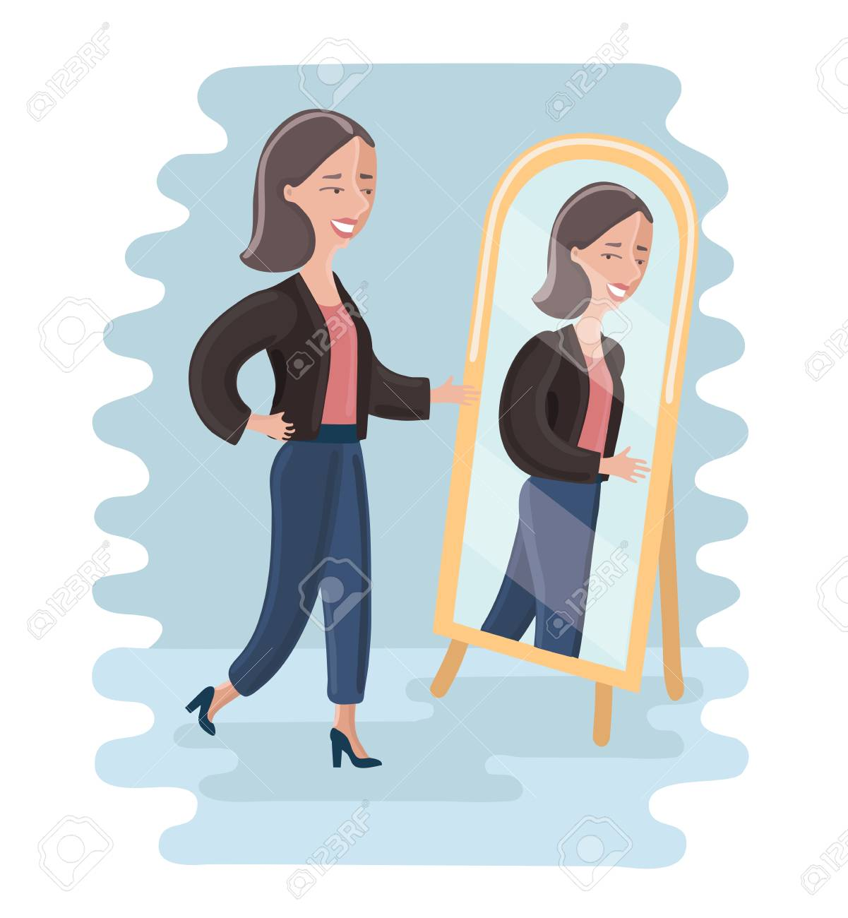 Vector Cartoon Illustration Of Young Woman Looking At Herself In A Mirror Dressing Room