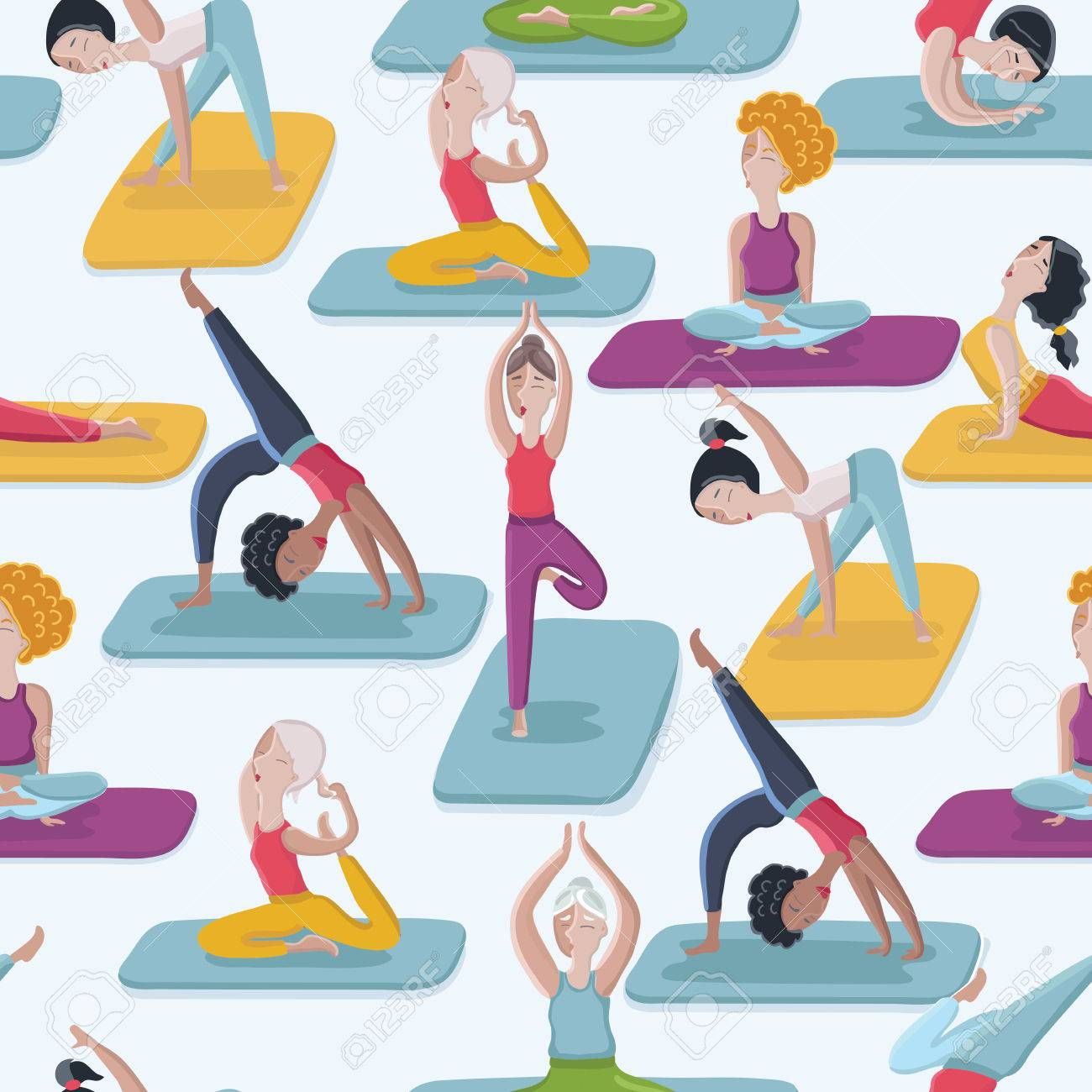 Vector Cartoon Funny Seamles Comic Yoga Poses Seamless Pattern