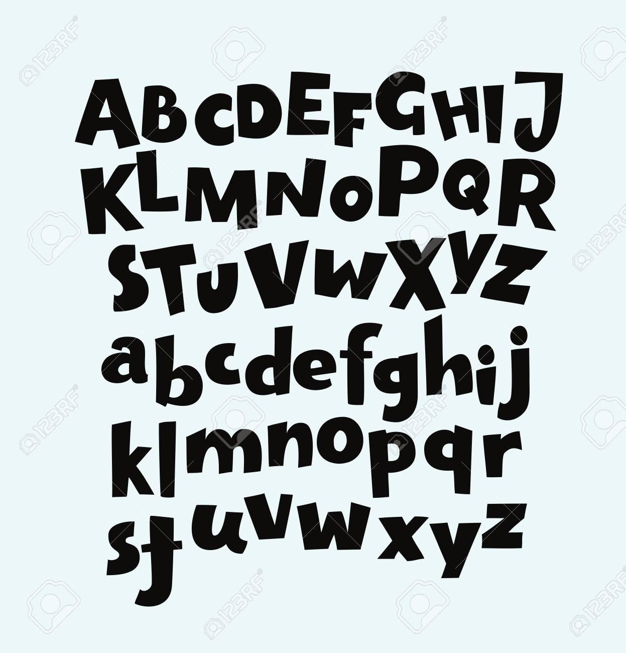 Handwritten Bold Trendy Vector Alphabet Set Playful Calligraphic Characters Uppercase Lowercase Black Symbols