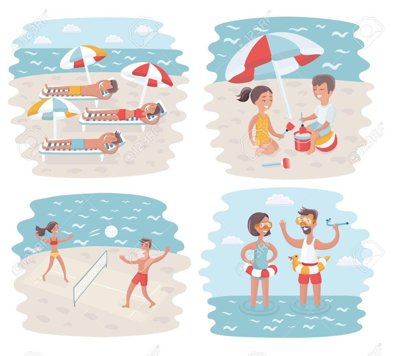 ベクトル crowded ビーチで晴れた日の漫画シーンの面白いイラスト