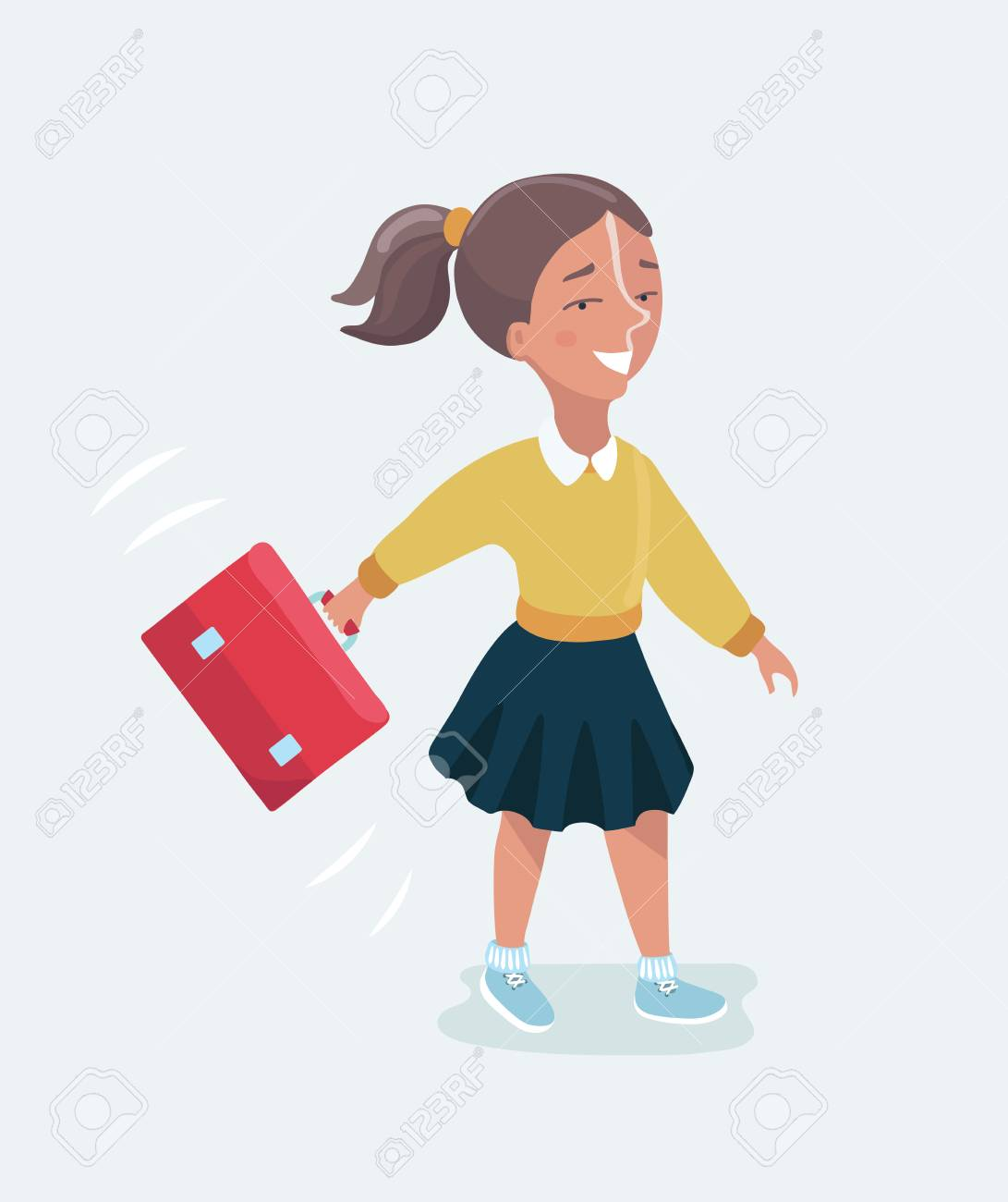 Vector cartoon funny cute illustration of happy schoolgirl with a backpack  going to school Stock Vector 6cd30f9f4ddb1