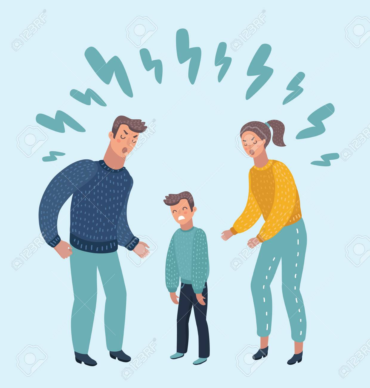 Vector cartoon illustration of little sad crying boy, cursing his beloved parents. Family quarrel. Angry parents. Wrong education, psychology - 92433893