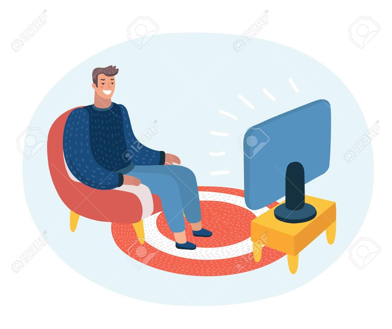 Illustration De Dessin Anime De Vecteur D Un Homme Assis Sur Le