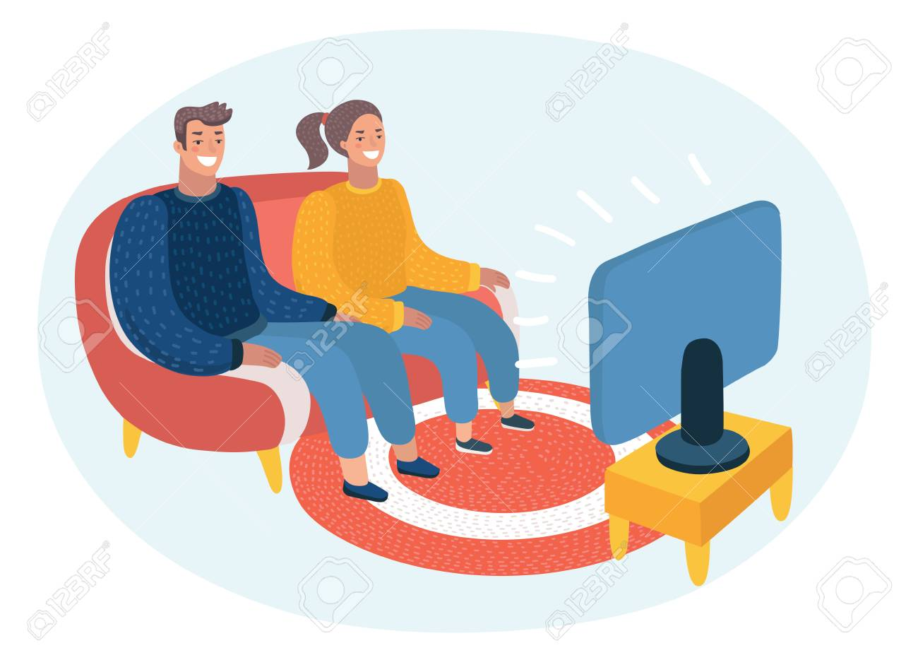 Vector Cartoon Illustration Of Happy Couple Watching Tv Audience