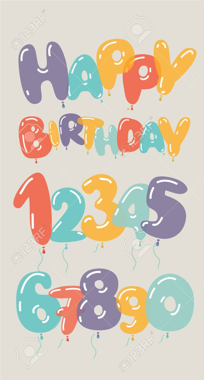 Vector Cartoon Set Of Illustrations Of Numbers And Happy Birthday