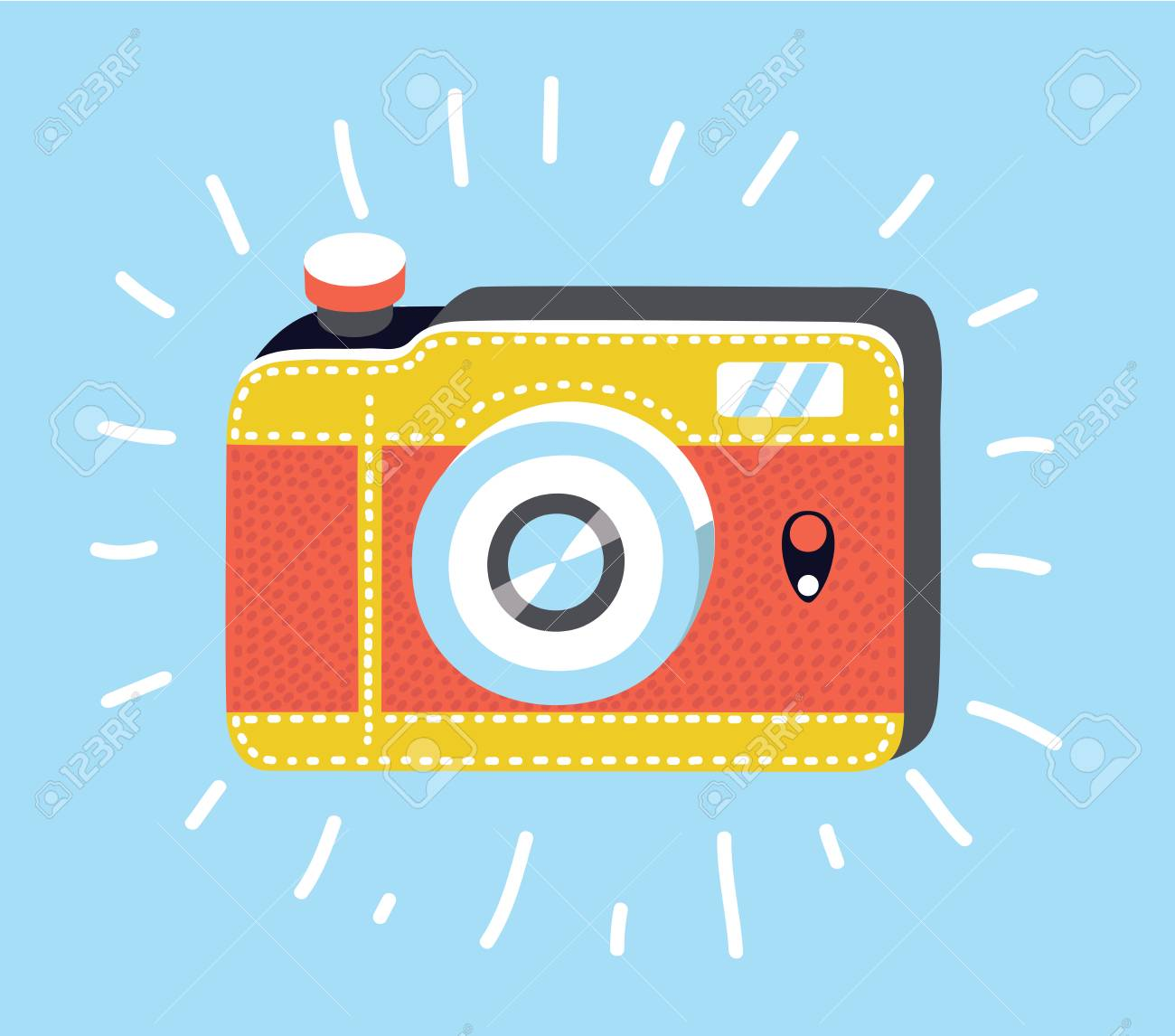 Vecotr Cartoon Illustration Of Camera Icon In Trendystyle Isolated