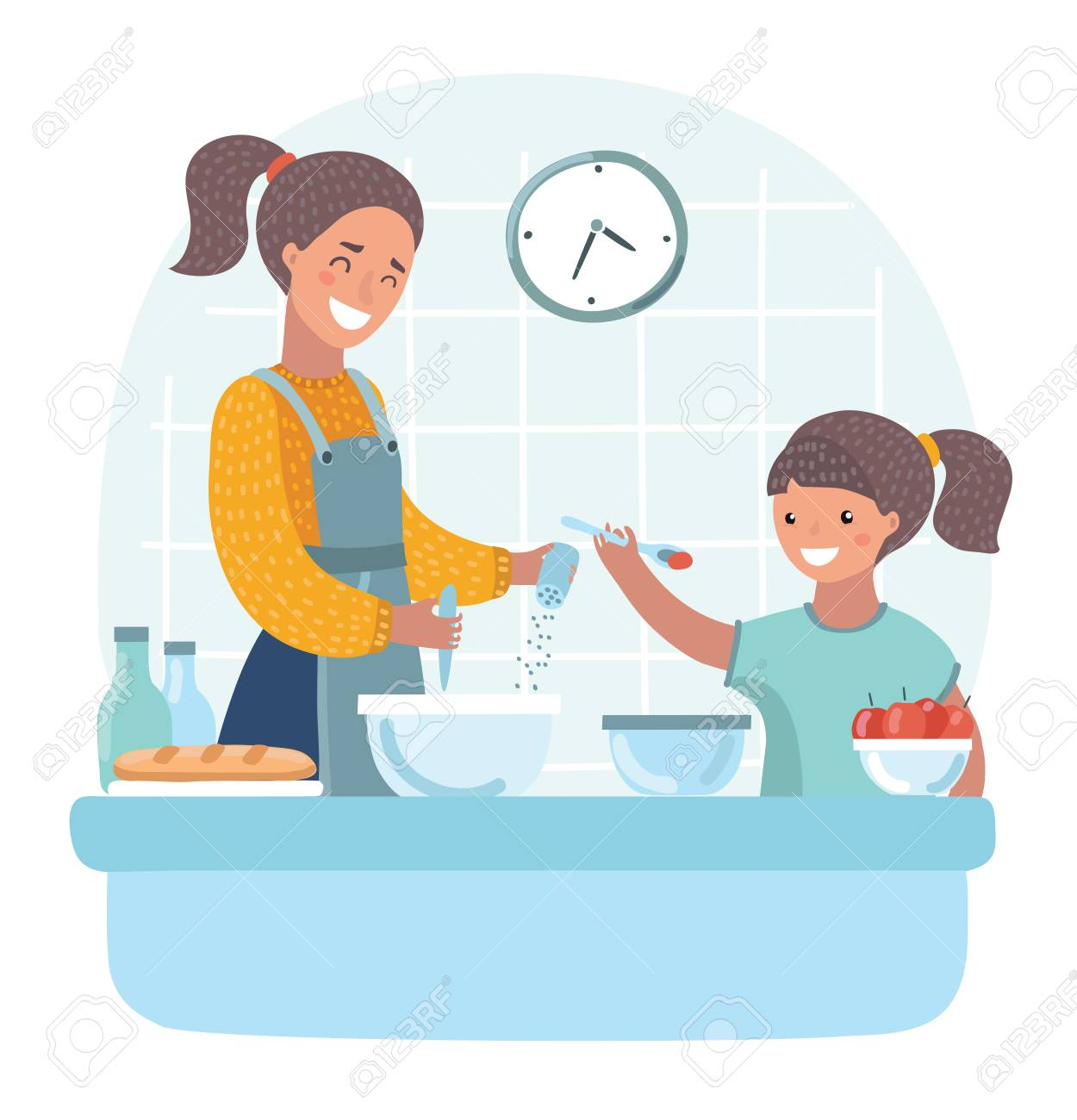 Vector cartoon illuatration of young beautiful mother teaches daughter to cook in the kitchen.+ - 93637616