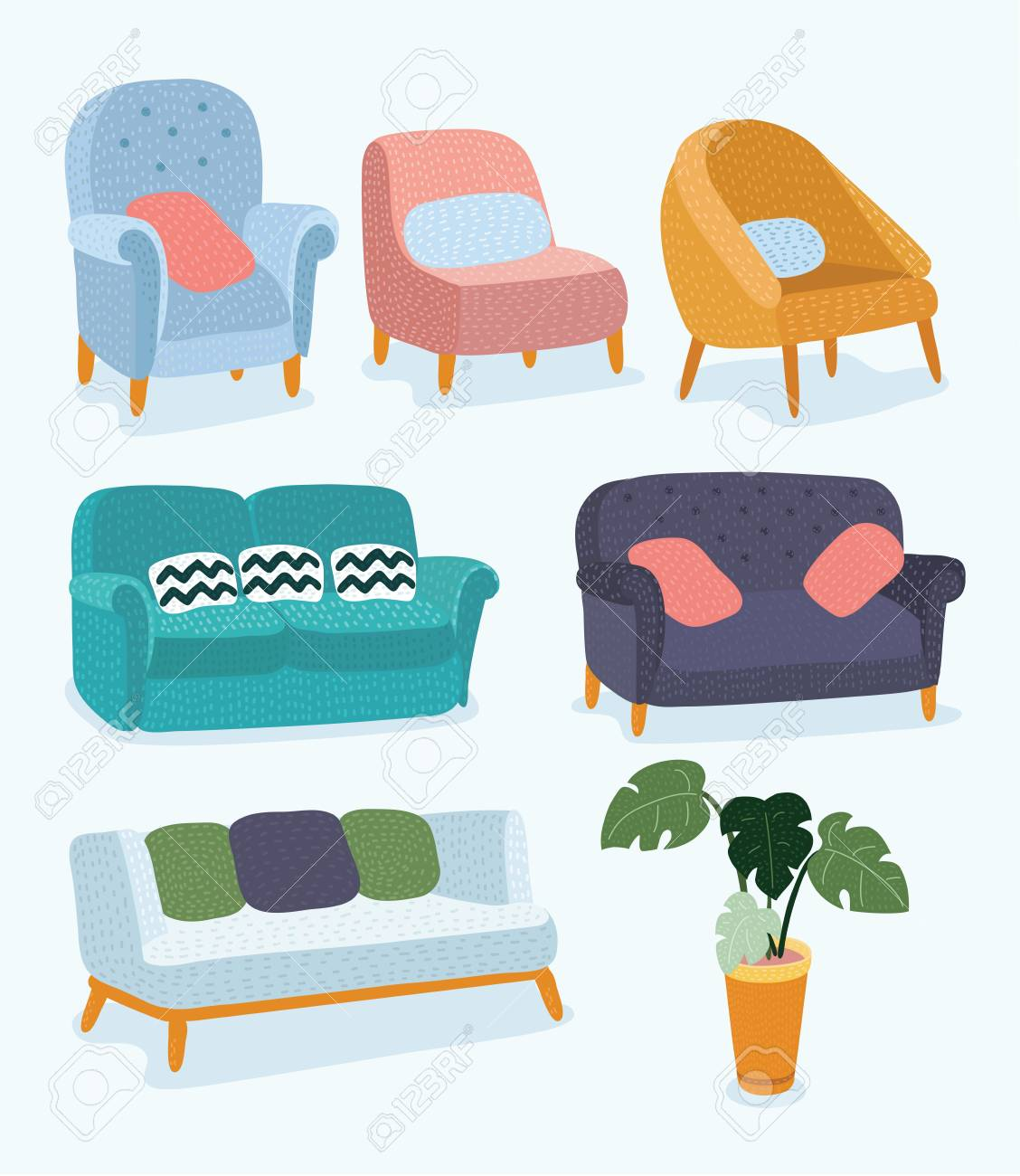 Superieur Vector   Vector Cartoon Funny Illustration Of Set Stylish Furniture. Coach  Sofa With Wooden Legs And The Pot Of A Potted Plant, Monstera.