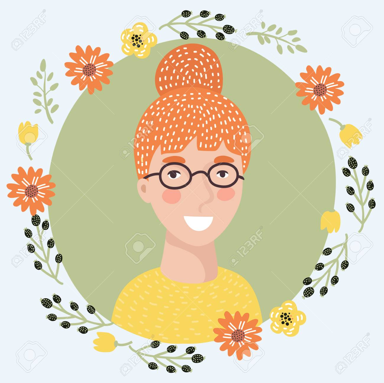 Vector illustration of cartoon young woman face icon. Pretty intelligent redhead girl on glasses. Female avatar portrait decorated with flowers - 95685712