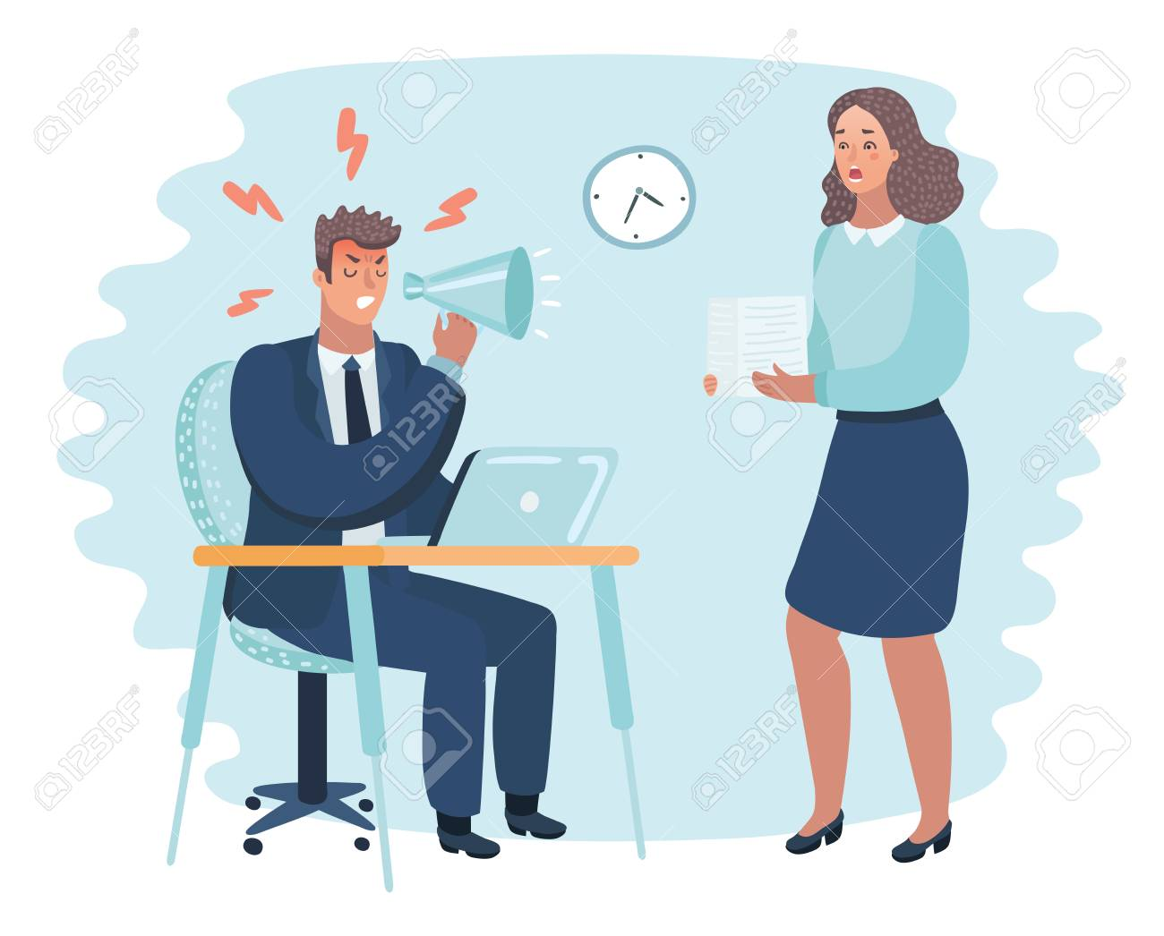 Vector cartoon illustration of angry boss and frightened employee. Man sitting at the table, woman bring pile of papers. - 95917185