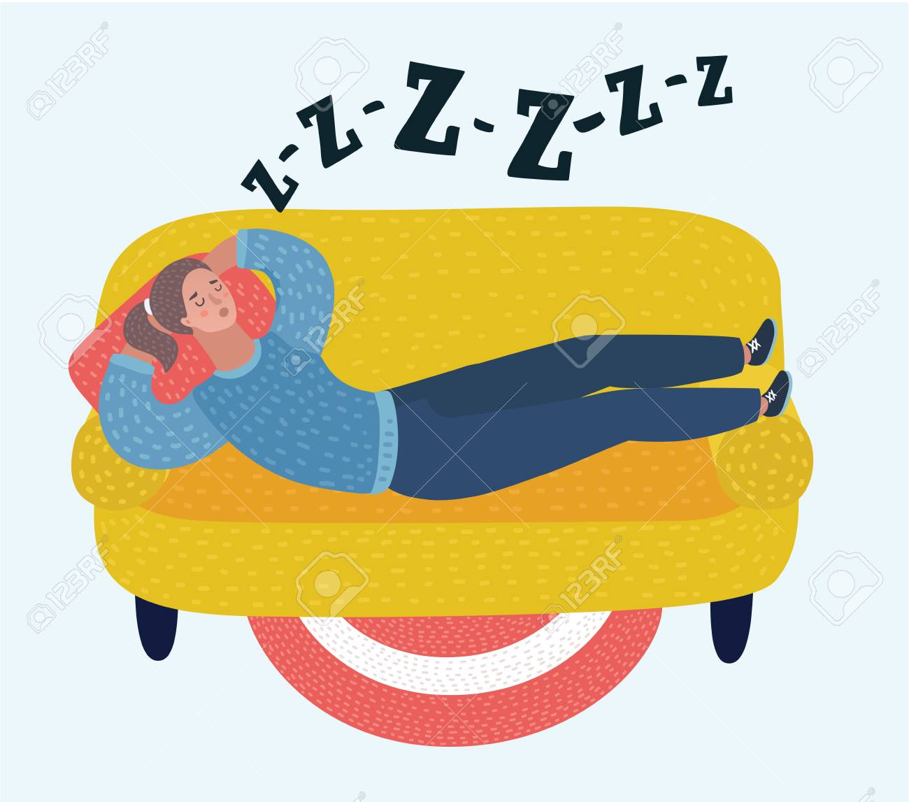 Vector Cartoon Illustration Of Woman Sleep On Sofa In Room Dreaming