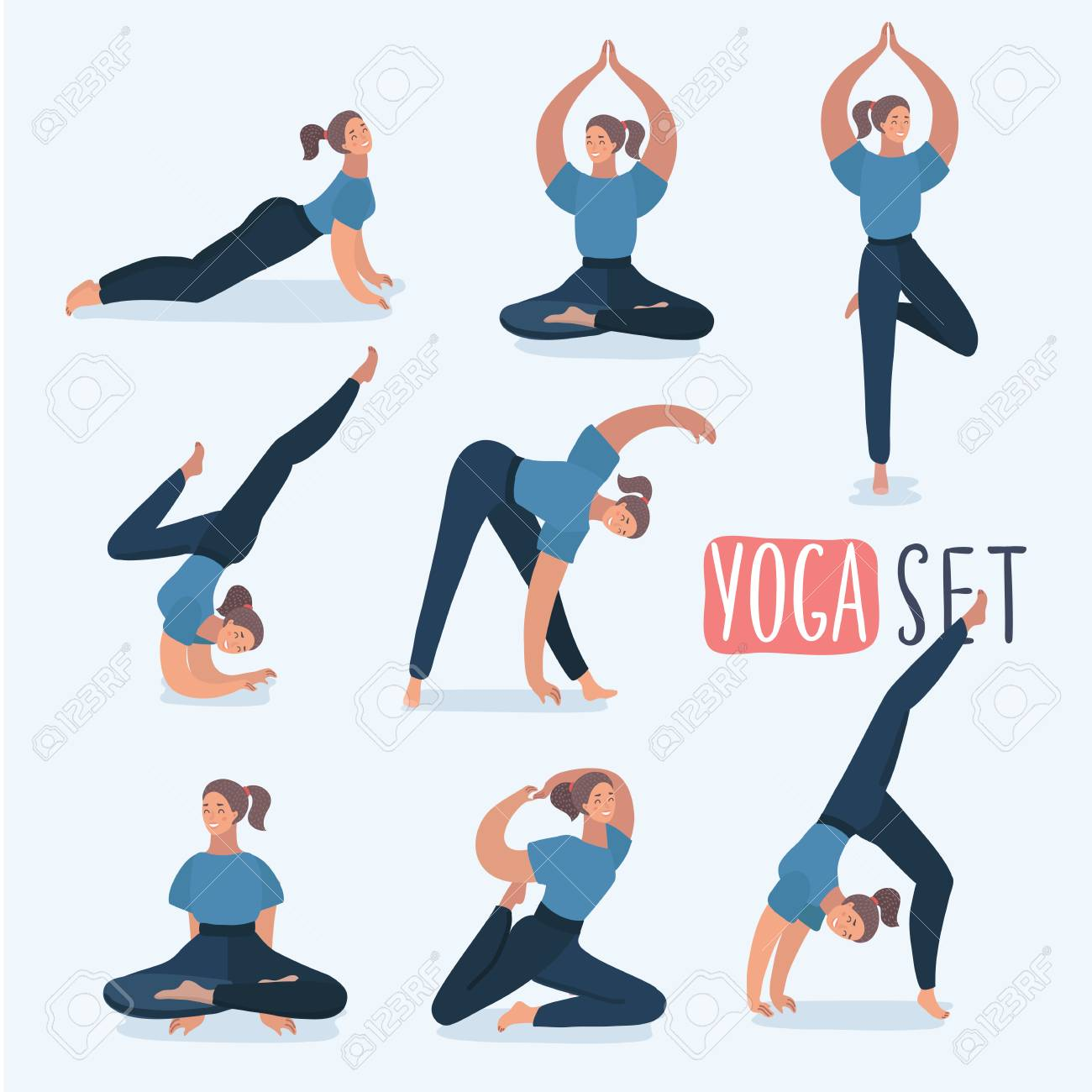 Cartoon Funny Girl In Different Yoga Poses Isolated On White Royalty Free Cliparts Vectors And Stock Illustration Image 97617082