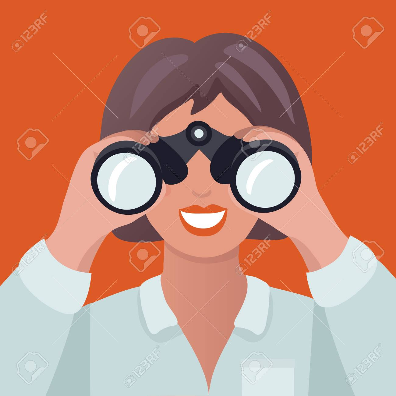 Vector cartoon illustration of woman holding binoculars. A woman in search. - 97311587