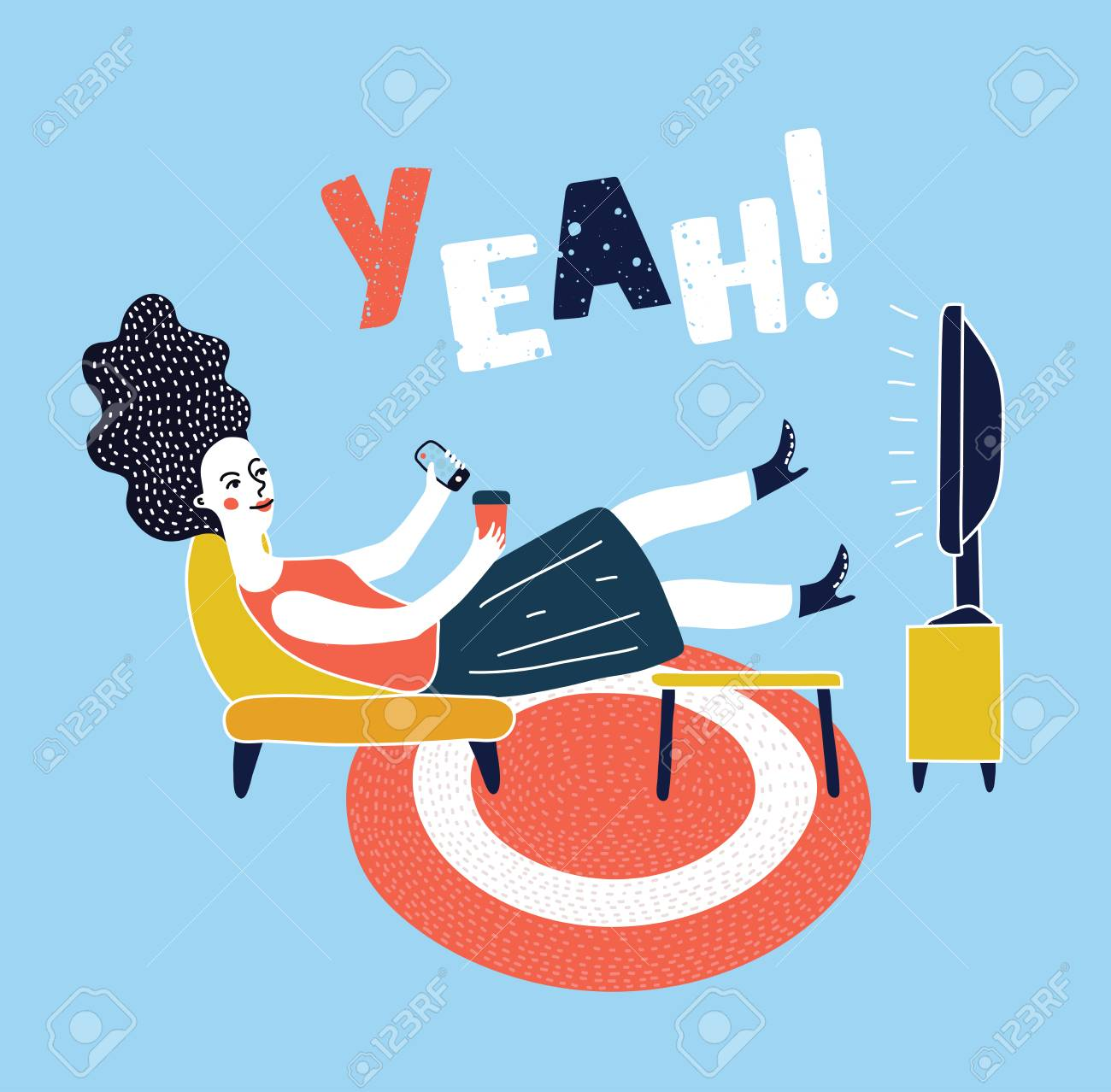 Vector cartoon illustration of woman watching television armchair and sitting in chair, drinking - 97393254