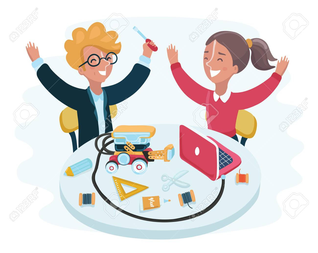 Vector Cartoon Illustration Of Smiling Children Sitting At Laptops