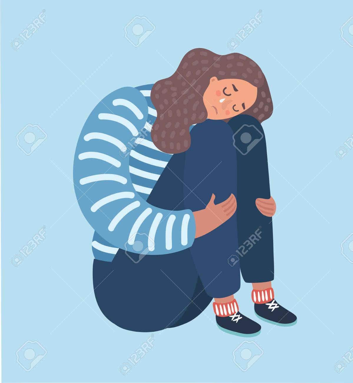 Vector cartoon illustration of sad girl sitting and unhappily hugging her knees and cry. Woman in depression. - 97632993