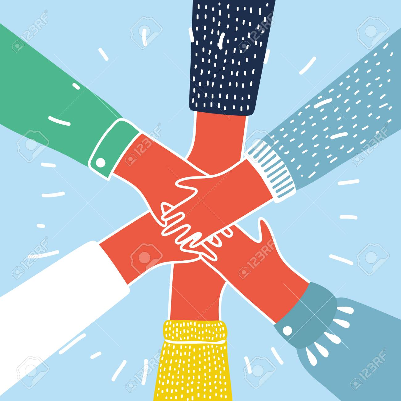 Vector cartoon illustration of people putting their hands together. Colorful concept - 99515439