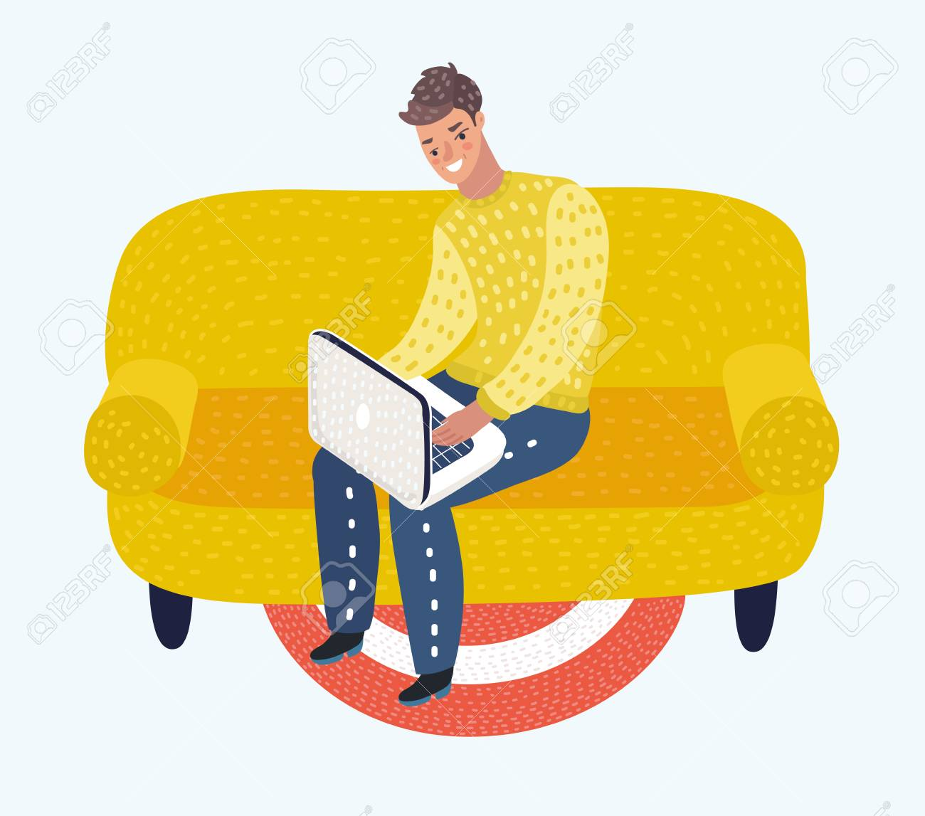 Vector Cartoon Illustration Of Young Man Sitting On The Sofa Stock