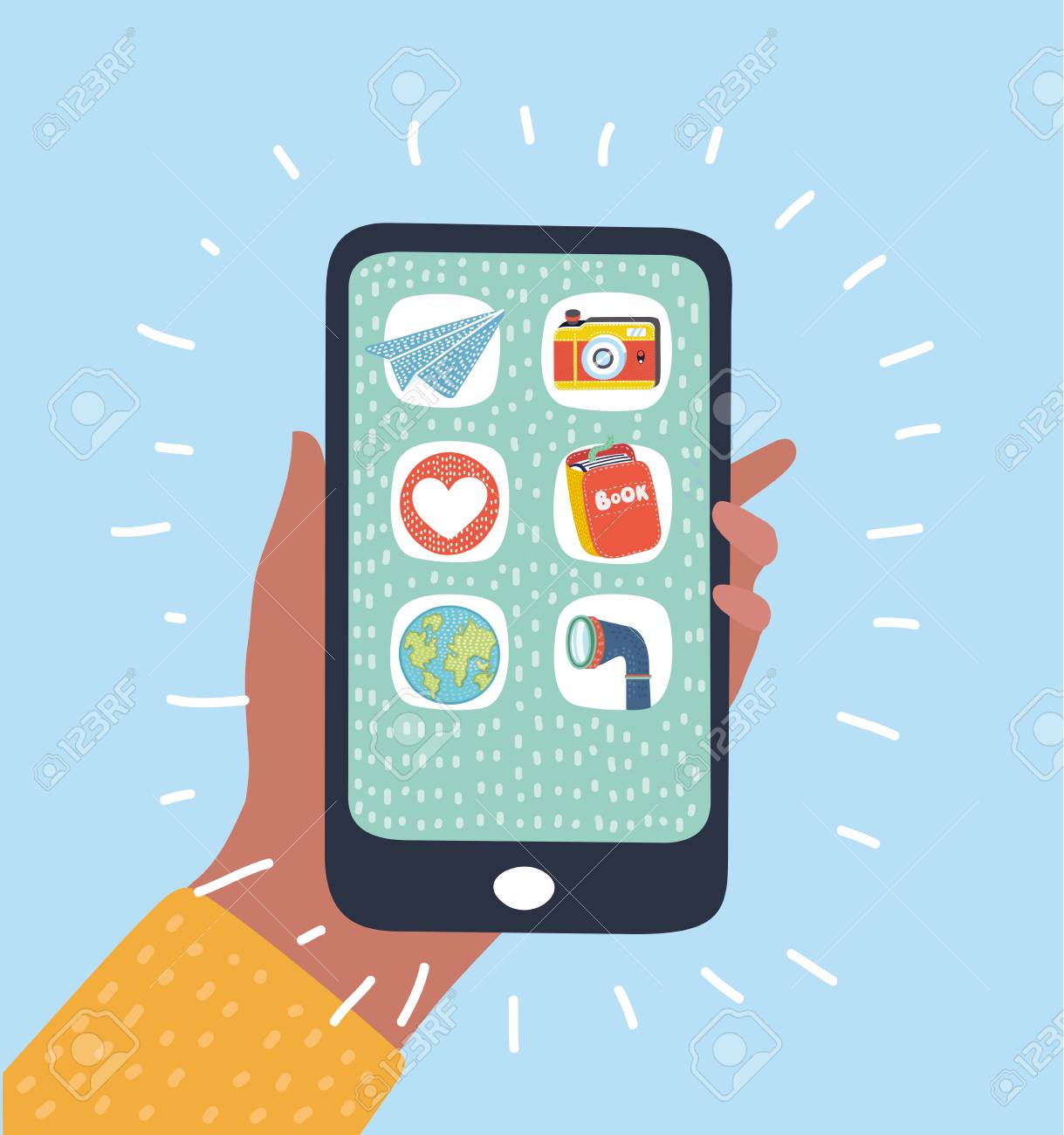 Vector Cartoon Illustrion Of Mobile Phone With Icon App On Display Royalty Free Cliparts Vectors And Stock Illustration Image 100719752