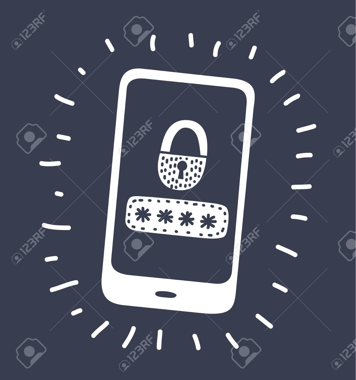 123Rf Password vector cartoon illustration of locked password on display smartphone