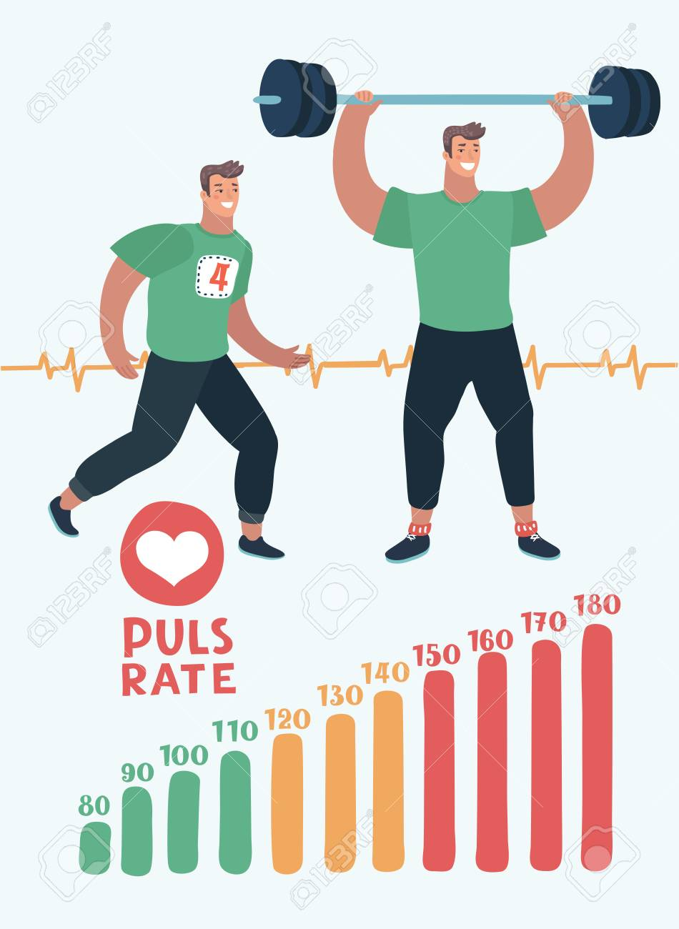 Vector cartoon illustration of element of pulse rate scale, running man, man with barbell and Rate Pulse. Cardio, anaerobic aerobic workouts - 104548679