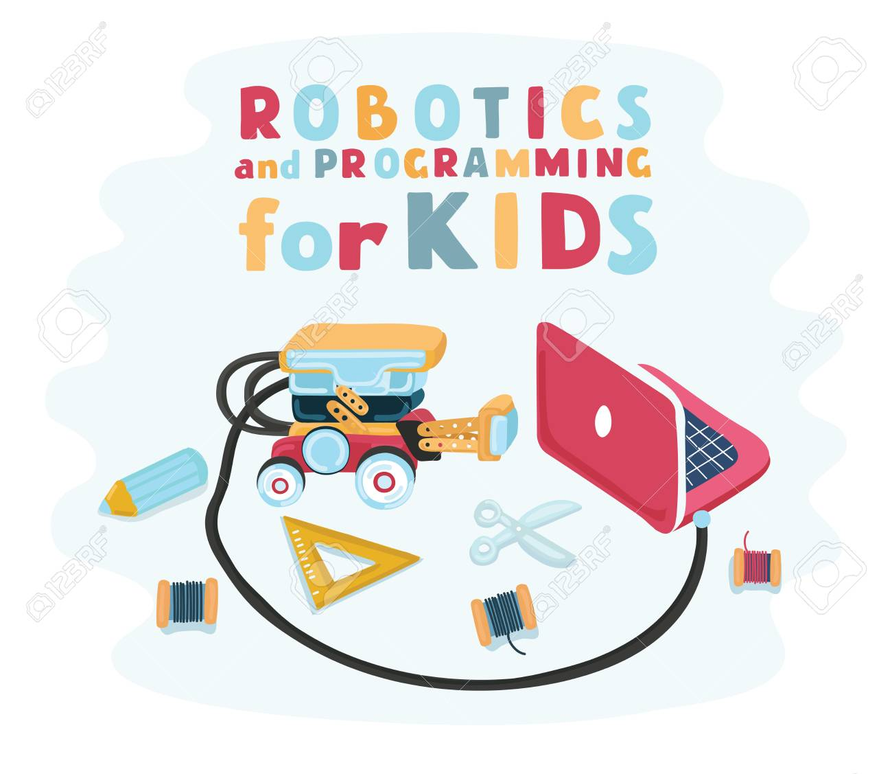 Vector Cartoon Illustration Of Staff For Designed Robotics For