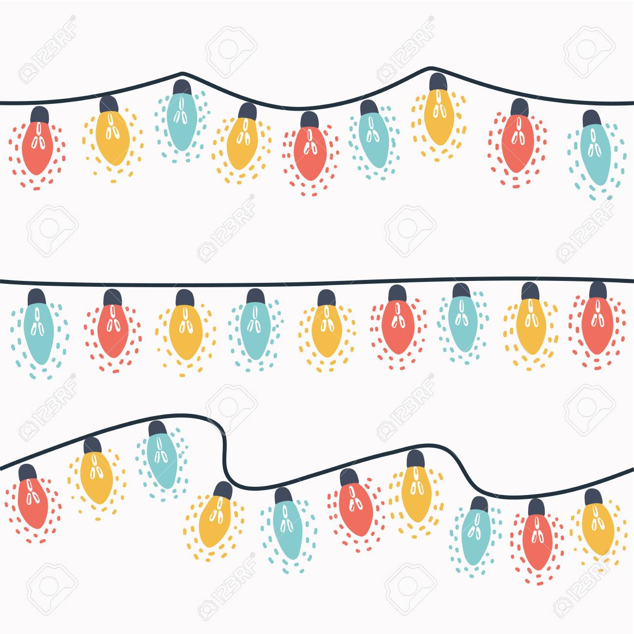 Christmas Lights Cartoon.Vector Cartoon Illustration Of Set Of Christmas Lights Garland
