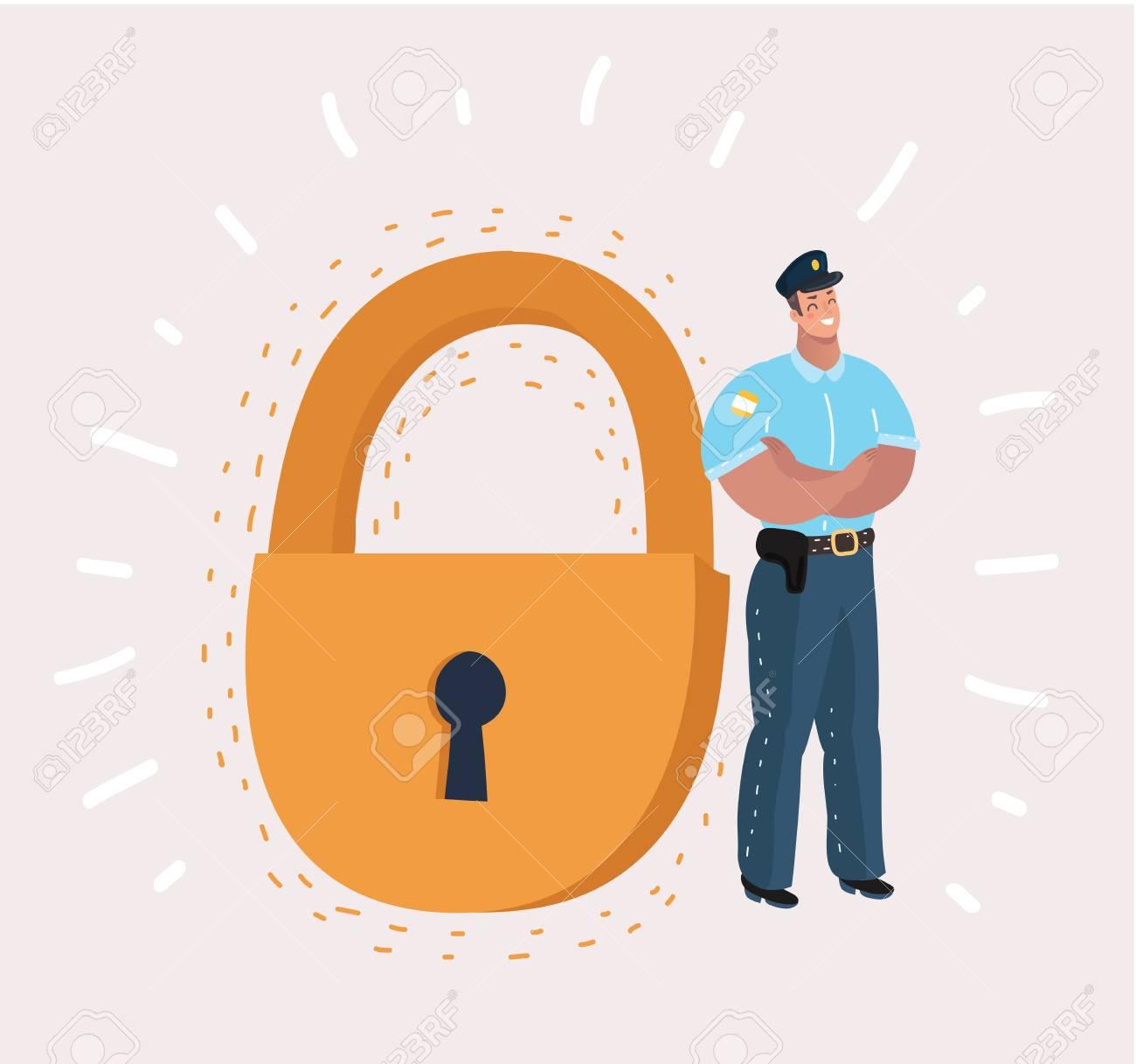 Man in security guard suit is standing near a giant padlock. Concept: business, security, personal data, GDPR, RGPD, general data protection, antivirus .Vector cartoon illustration in modern concept - 110526755