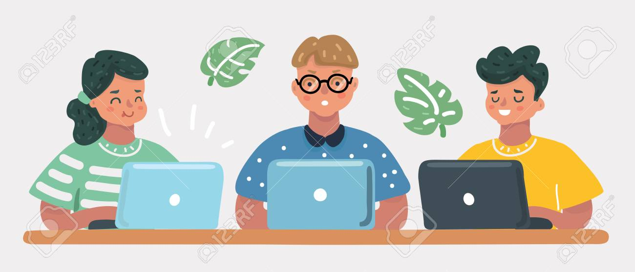 Vector cartoon illustration of kids sitting at laptop, school friends learn coding, education concept. Girls and boys. Human child characters on white background. - 126334109