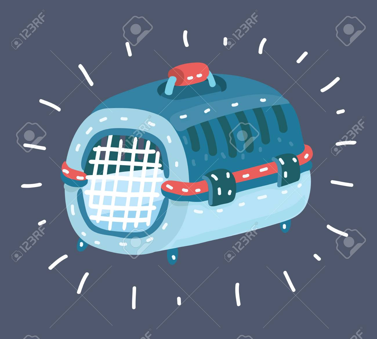Vector cartoon illustration of Stylish beautiful pet carrying case, cage, pet box, cats, dogs, raccoons, chinchillas. - 126198395