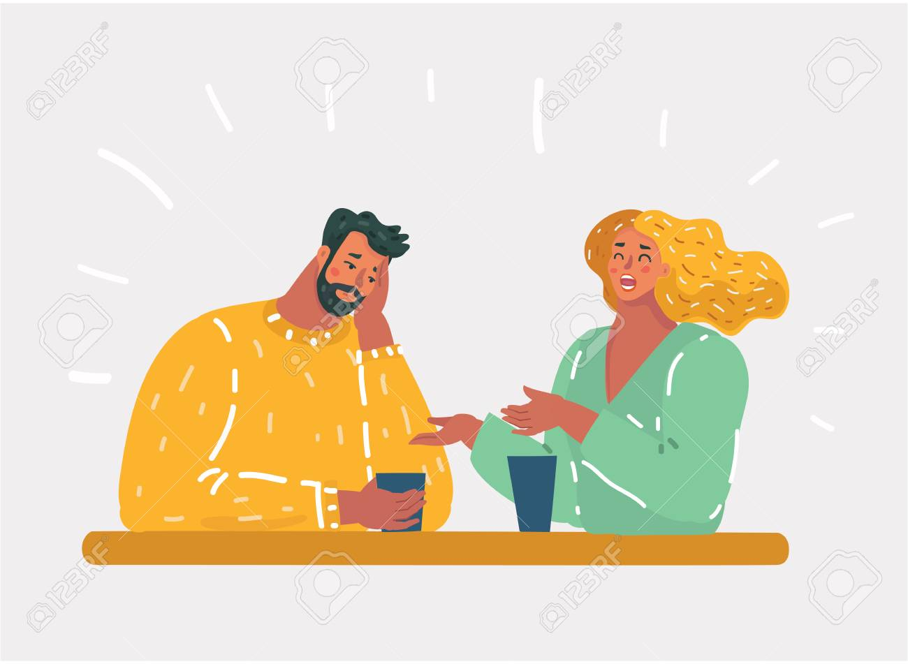 Vector cartoon illustration of girl talking small talk chatter with man, who bored. Unhappy couple or uninteresting story talking by coworker. - 123636086
