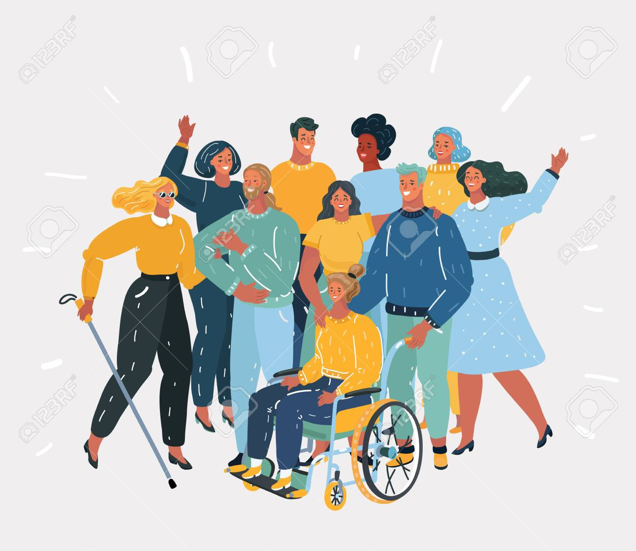 Vector cartoon illustration of Disabled people, handicapped characters volunteers, diverse students, disabled girl in wheelchair, blind woman. Friends together. Group of people on white background. - 123531542