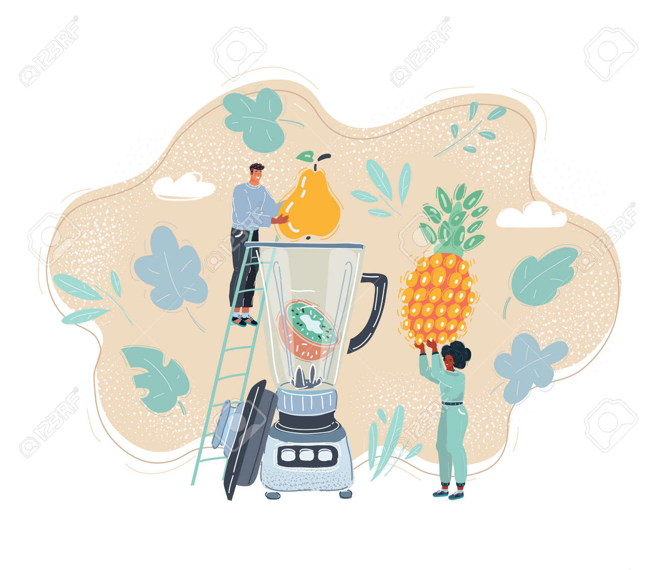 Cartoon illustration of Smiling cute man and woman posing with a blender - 155301434